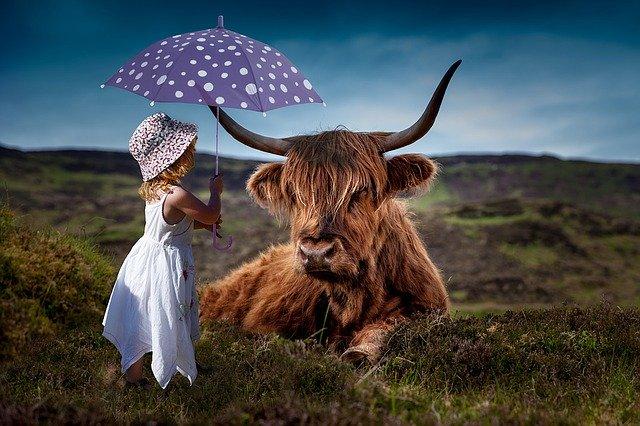 dítě s deštníkem