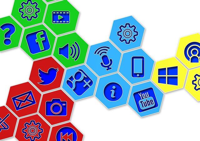 média na internetu – ikony